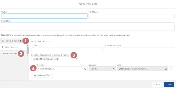 Decision configuration page