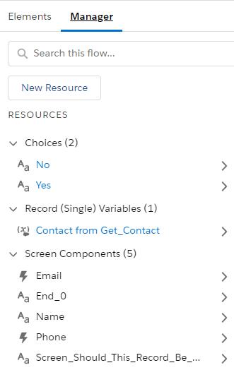 flow builder - resource manager