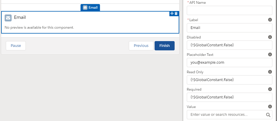 flow screen - email