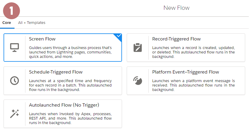 flow builder - types